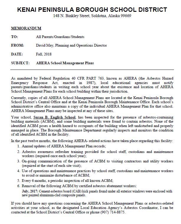 2018-19 SBE Parent AHERA Notice