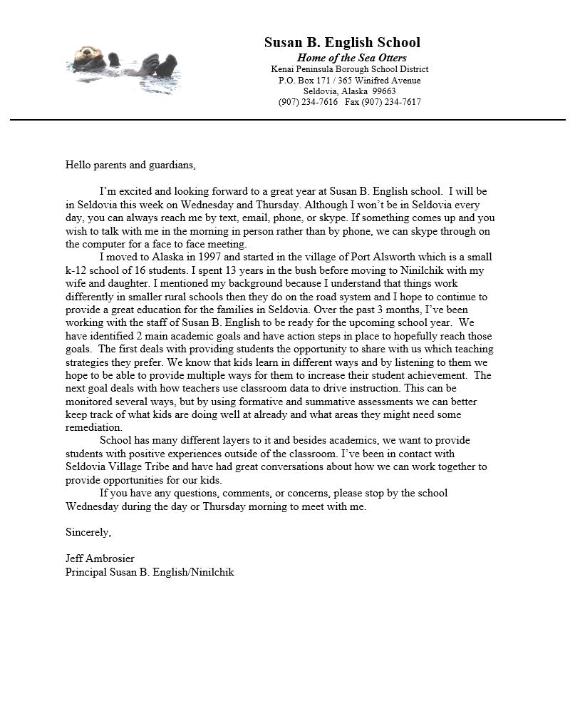 Principal Welcome letter 2019-20