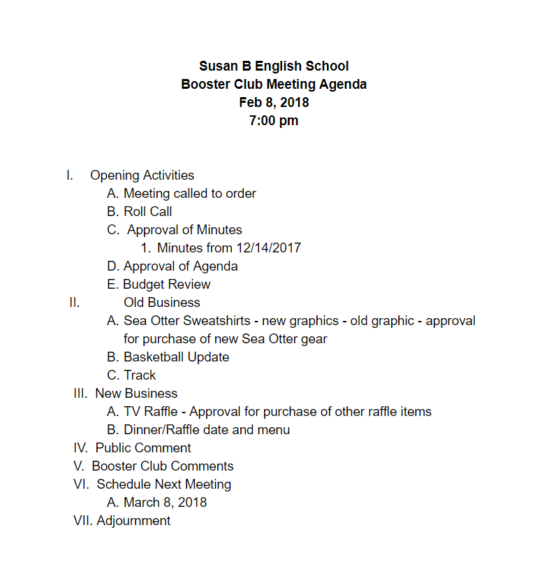 180208 Booster Club Agenda