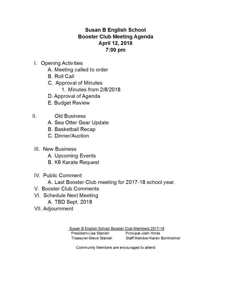 180412 Booster Club Agenda