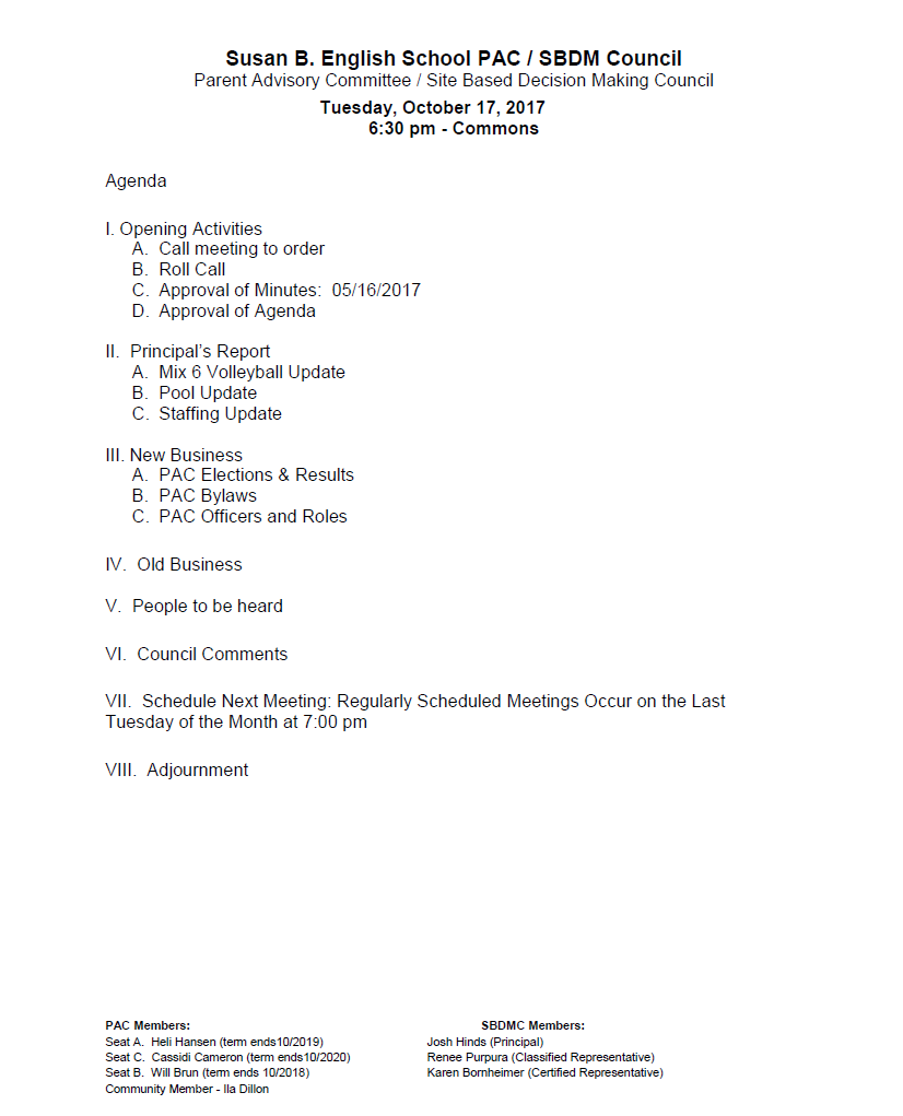 171017 PAC Agenda