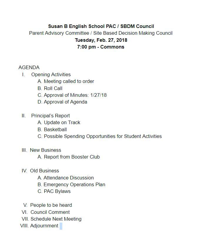 180227 PAC Draft Agenda