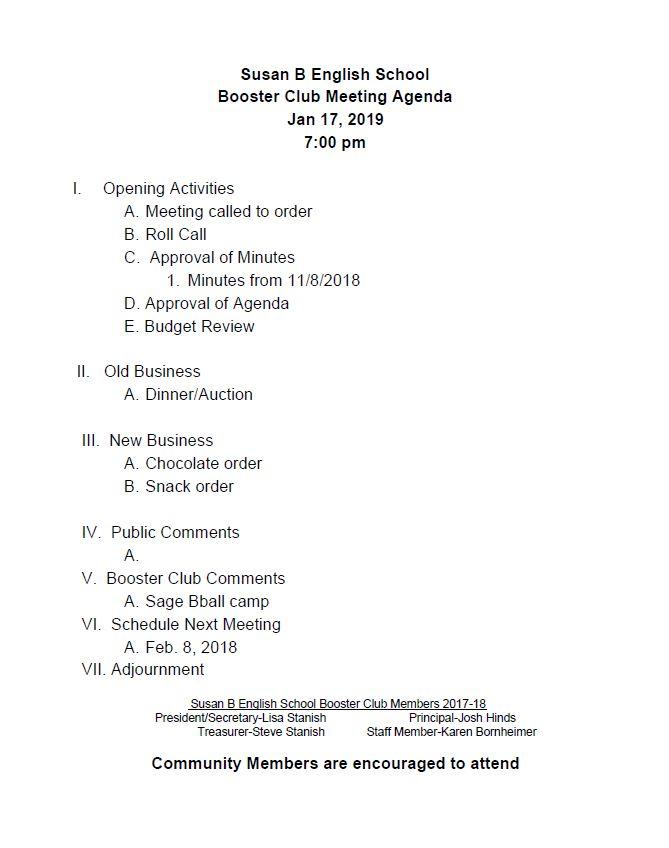 190117 Booster Club Agenda