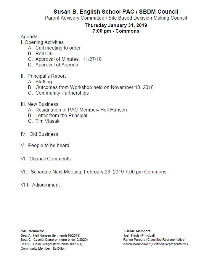 190131 SBE PAC Agenda